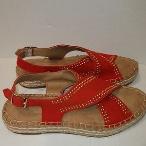 Aerosoles Red Leather Espadrilles Ankle Strap